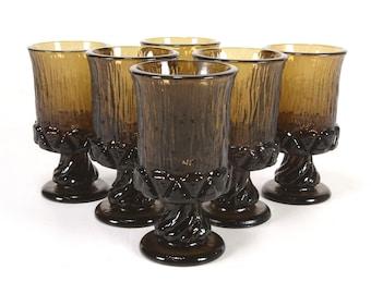 Set of 6 Vintage Fostoria Sorrento Glass Juice Tumblers in Brown