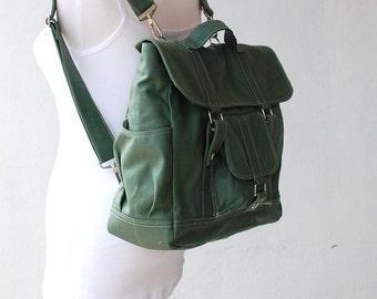Pico2 Canvas Backpack in  Wax  Army Green Unisex / Laptop / Shoulder Bag / Satchel / Rucksack / Messenger Bag / Diaper Bag / School