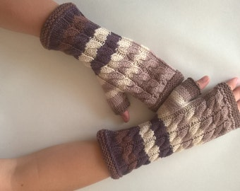Handmade BROWN ( multicolor ) fingerless gloves, wrist warmers, fingerless mittens. Knitted of 100 % wool.