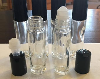 NEW Lot of (6) Rollerball Roll On GLASS Bottles 10ml Clear Glass for Essential Oils or Perfume