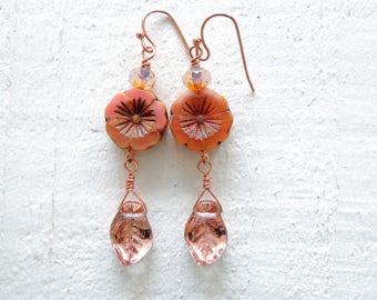 Flower and Leaf Dangle Earrings Blush Pink Romantic Floral Earrings Clay Pink Czech Glass Dangles Earthy Natural Boho Style Gift for Her