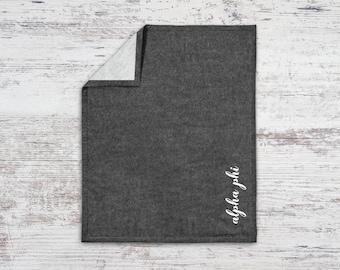 Alpha Phi Script Sweatshirt Blanket Throw Greek Licensed Sorority Gift