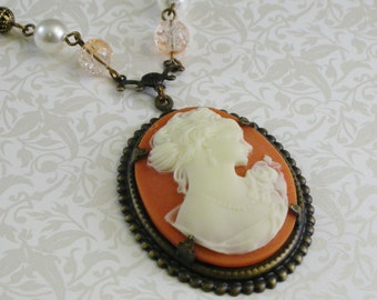 Carnelian Vintage-Style Cameo Necklace