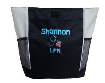 Tote Bag Personalized Nurse Nursing Midwife Doula RN BSN LPN cna er  Aide Student Practitioner Cardiologist Heart Stethoscope