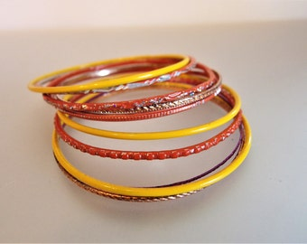 Vintage Red Yellow Copper Thin Enamel Bracelets (10) Jewelry | Narrow Enamel Bracelets | Enamel Jewellery | Gift Jewelry for Her