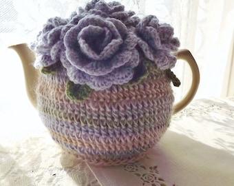 Lilac Rose Tea Cozy, Lavender Striped Tea Cozy, Crochet Tea Cozy, Tea Cozy, Floral Tea Cozy, Teapot Cozy, Tea Pot Cozy, Tea Pot Hat