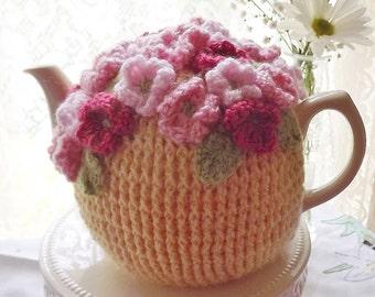 Sunshine Yellow Crochet Tea Cozy, Pink Posies Tea Cozy, Crochet Tea Cozy, Floral Tea Cozy, Teapot Cozy, Tea Pot Cozy, Tea Pot Hat