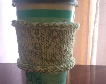 Hand knit travel mug cozy