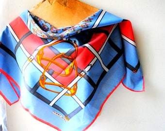 Equestrian vintage 80s,pastel, blue, watermelon color , polyester scarf with a white, gray, orange color print. Made by Norma Dori.