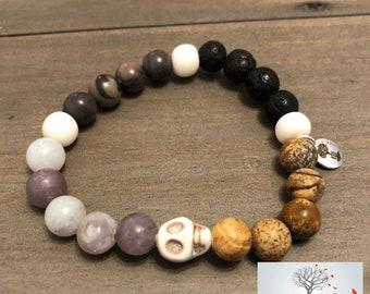 "Natural Stone Elastic Bracelet - ""Meaning and Clarity"" (Bone, Picture Jasper, Lepidolite, Purple Jasper, and Lava Rock)"