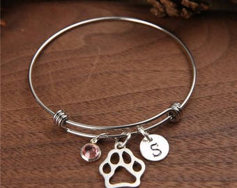 Paw Bangle Bracelet, Paw Print Bracelet, Cat Paw Bracelets, Pet Lover Bangle, Personalized gifts, Birthstones Bangle, Initial bangle