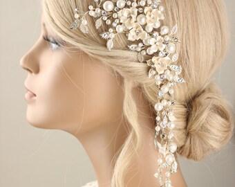 Bridal hairpiece, Bridal hair clip, pearl hair piece, beads hair piece, wedding headpiece, wedding hair clip, pearl hair clip
