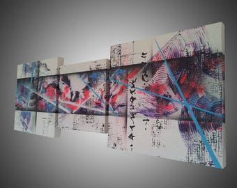 Abstract painting contemporary 3D purple. Colorful modern abstract art is handmade. Painting panoramic 40cmx110cm. Goartdeco. Deco lounge.