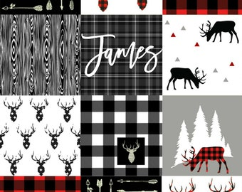 """Minky Lovey Personalized/Deer and Plaid Lovey/ Woodland Baby Gift/Minky Baby Lovey/Minky Deer Blanket/Security Blanket/18"""" x 24"""""""