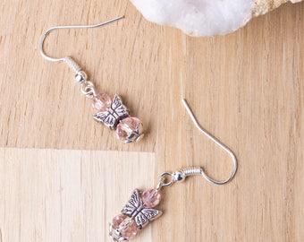 Rose boucles d'oreilles papillon | Papillon bijoux | Boucles d'oreilles boho mignon | Rose boucles d'oreilles perle | Animaux bijoux | Boucles d'oreilles petit papillon