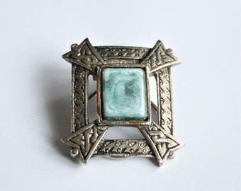 Vintage Celtic style scarf ring.  Blue scarf ring
