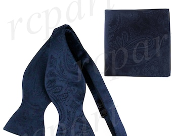 New Men's Paisley navy blue Self-Tie Bowtie and Handkerchief, for Formal Occasions