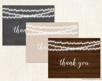 Rustic Wood String Lights Folded Thank You Cards - Rustic Country Bridal Shower and Wedding Thank You Cards - Set of 24 with envelopes