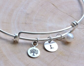 Mothers day gift for Grandma - Family tree Bangle in Sterling Silver - Mothers day gift from daughter Family Tree Jewelry Gift Ideas for Mom