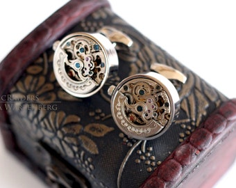 Mechanical Silver Cufflinks -Steampunk