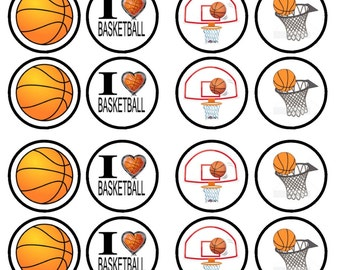 Basketball Edible Wafer Rice Paper Cake Cupcake Toppers x 24 PRECUT