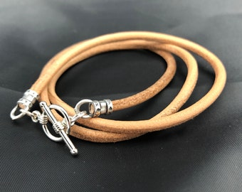 Minimalist triple wrap with 3mm leather and a toggle clasp