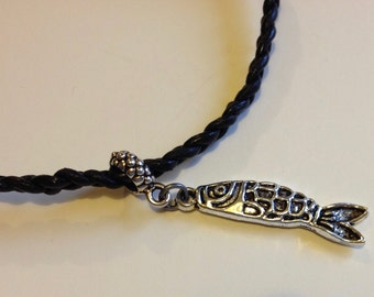 Black Fish Necklace, Mens/Unisex Braided Black Leather, Genuine Leather, Perfect for your Fisherman, Fisherperson, For Dad, Fathers Day Gift