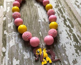 MY Little Pony Necklace - Fluttershy Chunky Necklace and Bracelet Rainbow Dash Pony Girl Necklace