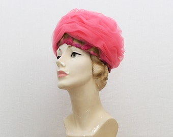 60s Pink Tulle Turban Hat - Vintage 1960s Hot Pink Hat