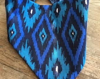 Ikat Believe It Reversible Dog Bandana , snap/tie on dog bandana
