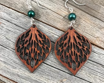 Leaves Laser Engraved Wood Earrings