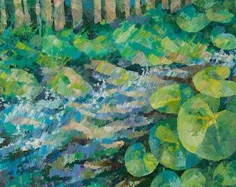 Mountain Creek Carpathian landscape Mountain river Large landscape painting Abstract Landscape Oil on canvas Paletteknife