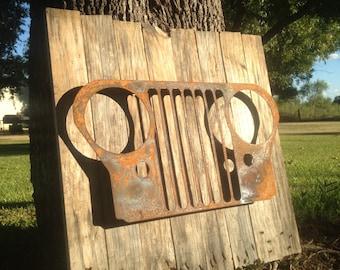 Jeep Sign, Man Cave, Gift, Rustic, Metal Art, Barnwood