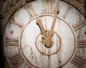 Fine Art Photography Clock Roman Numerals Rustic Decor Home Decor Neutral Colors Square Photo