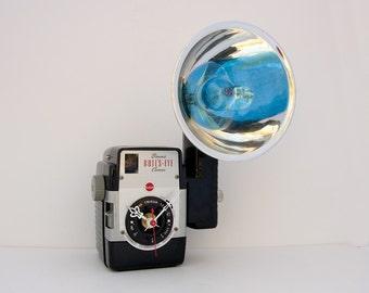 Camera clock, vintage camera, antique clock, Recycled Kodak Brownie Bullseye Camera Clock, Camera flash clock,