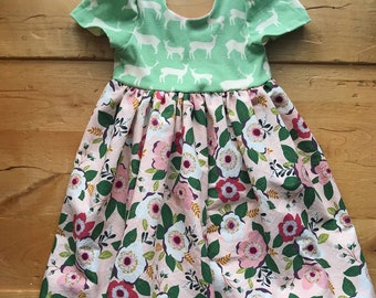 Elk Twirling Dress, Floral, Green, Pink, Girls