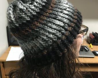 Multicolor Knit Hat- Gray
