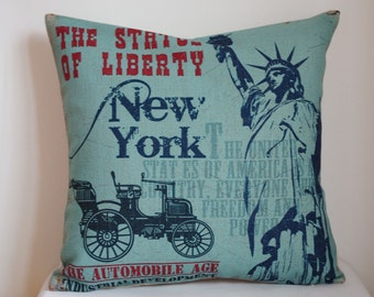 Decorative pillow cover, Vintage The statue of liberty decor pillow ,The statue of liberty pillow cover