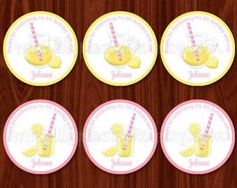Rosa Limonade Limeade Cupcake Toppers / Labels / Tags digitale druckbare PDF-Datei