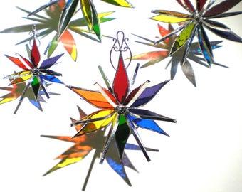 Vous choisissez n'importe quelle taille - vitrail 3D Flower Burst - coloré arc en ciel Gay Pride Maison Jardin décoration pendaison Suncatcher (fait à la commande)