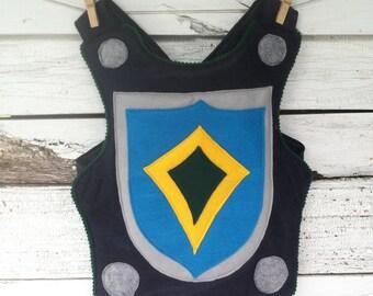 Knight Body Armor, Felt Breastplate, TEAL and NAVY Halloween Costume, Kid Costume