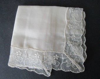 Linen Hankie French Tambour Lace Edge Bridal Wedding Still New Never Used