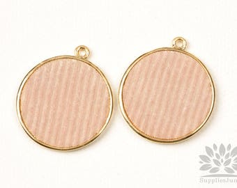 P922-G-BE// Gold Plated 28mm Beige Velvet Stripe Flat Round Pendant, 2pcs