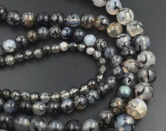 15'' Agate Beads 6mm/8mm/10mm/12mm/14mm Black Dragon Vein Agate Gemstone Beads