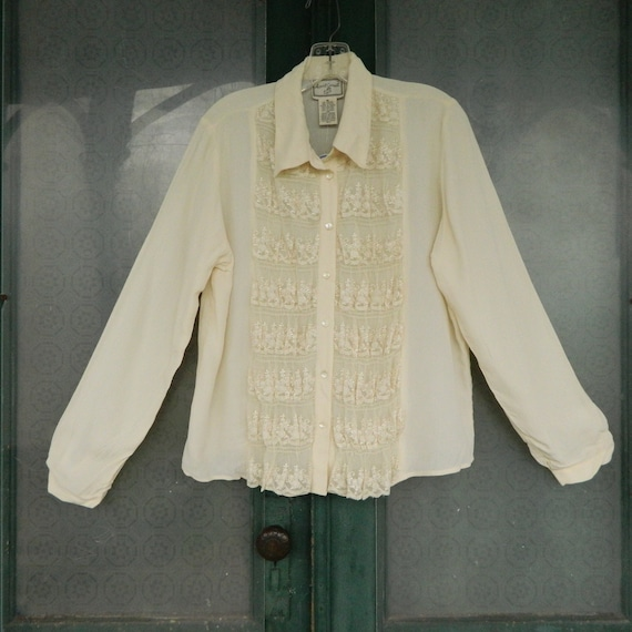 April Cornell Romantic Long Sleeve Retro Victorian Blouse -M- Ivory Rayon