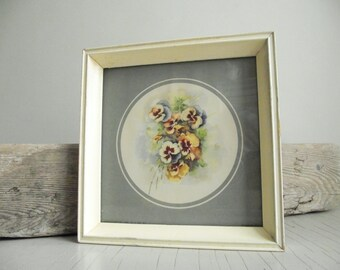 Framed Pansy Print | Vintage Framed Pansy Bouquet | Donald Art Co Ltd NY No. K3 DAC Art Print | Cottage Chic Decor
