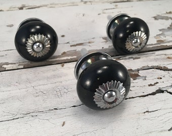 Classic Black Decorative Tomato Knobs, Furniture Supplies, Cabinet Knob, Ceramic Black Drawer Pull, Cabinet Supplies, Item #457914210