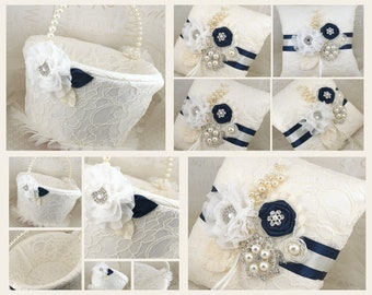 Ring Bearer Pillow, Flower Girl Basket, Navy Blue, Ivory, Cream, White, Lace, Brooch, Crystals, Pearls, Elegant, Vintage Style, Pearl Handle