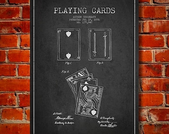1876 Playing Cards Patent, Canvas Print, Wall Art, Home Decor, Gift Idea