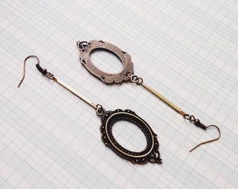 dangle drop earrings   cameo frame earrings   decorative brass earrings